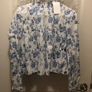 Zara White & Blue flowers long sleeve blouse